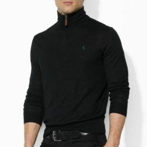 Ralph Lauren XXL Black 100% Cashmere 1/4 Sweater